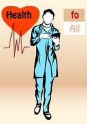 Stock Illustration of pensive doctor