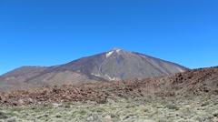 Mountain summit - Vulcano crater landscape- desert valley - Pico del Teide Stock Footage