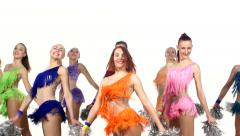 Group of beautiful girls jumping with pom-poms in hand. white background Stock Footage