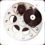 Original theater movie cinema 35mm reel with film reels Stock Photos