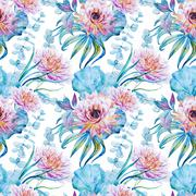 Nice floral watercolor seamless pattern Stock Illustration