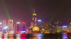 Hong Kong skyline at night with Symphony of Lights Stock Footage