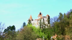 Bran / Dracula castle distant spring view - stock footage