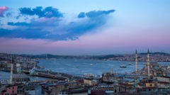 Day to Night Panorama Time Lapse over Istanbul 4K Stock Footage