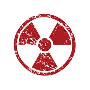 Red grunge nuclear logo - stock illustration