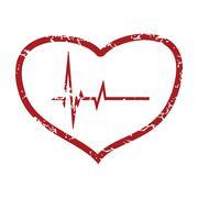 Red grunge heart beating logo Stock Illustration