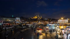 Night Life Time Lapse at Eminonu Square in Istanbul Stock Footage