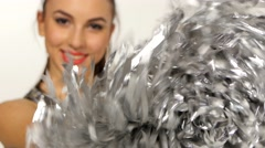 Cheerleader with pompoms, full length portrait of happy smile Stock Footage