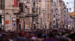 Time Lapse of people crowd in the Istiklal Avenue in Istanbul Stock Footage