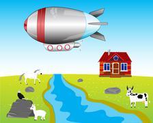 Airship on village - stock illustration