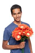Happy Man With Flowers Stock Photos