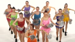 Cheerleading, girls dancing smiling at the camera Stock Footage