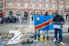 Stock Photo of STRASBOURG, FRANCE - APR 26 2015: Group photo of people during protest agains
