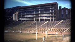 (1960's 8mm Vintage) University of Colorado at Boulder Old Stadium Shots Stock Footage