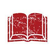 Red grunge book logo Stock Illustration