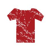 Red grunge tee shirt logo Stock Illustration