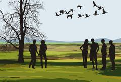 A trip in the autumn nature Stock Illustration