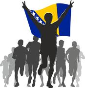 Athlete with the Bosnia and Herzegovina flag at the finish - stock illustration