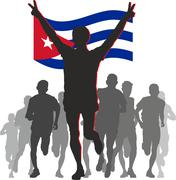 Stock Illustration of Athlete with the Cuba flag at the finish