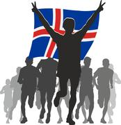 Athlete with the Iceland flag at the finish - stock illustration