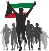 Stock Illustration of Athlete with the Kuwait flag at the finish