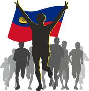 Athlete with the Liechtenstein flag at the finish - stock illustration