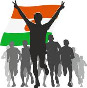 Stock Illustration of Athlete with the Niger flag at the finish