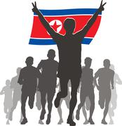 Athlete with the North Korea flag at the finish Stock Illustration