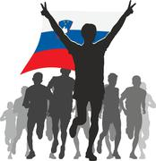 Stock Illustration of Athlete with the Slovenia flag at the finish
