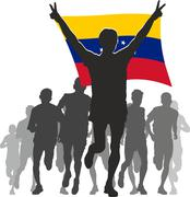 Stock Illustration of Athlete with the Venezuela flag at the finish