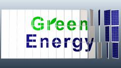 Green energy, Solar Panel plant with title for presentation HD_NTSC Stock Footage