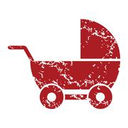 Red grunge baby carriage logo Stock Illustration