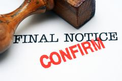 Final notice - confirm Stock Illustration