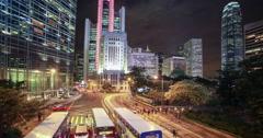 Hong Kong island Tramway time lapse at night Stock Footage
