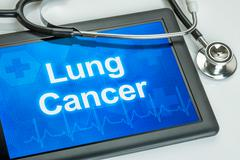 Tablet with the diagnosis Lung cancer on the display Stock Photos