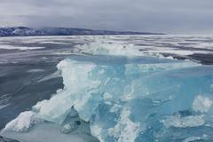 Blue ice of Baikal - stock photo