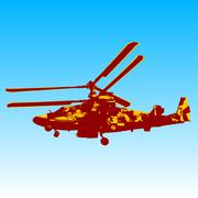 Stock Illustration of Russian helicopter Ka-52 (alligator). Vector illustration.