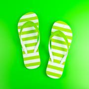 Green striped sandal Stock Photos