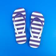 Purple striped sandal - stock photo