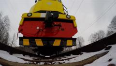 Train winter bottom view Stock Footage