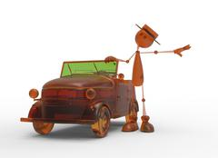 The 3D character with car Stock Illustration