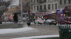New York City Streets in Winter Snow Storm, Cars, Buses, Pedestrians Stock Footage