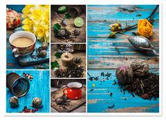Collage tea brew Stock Photos