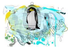 polar ice and penguin - stock illustration