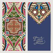 Stock Illustration of decorative label card for vintage design, ethnic pattern