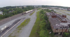 Aerial shot of abandoned railroad station Stock Footage