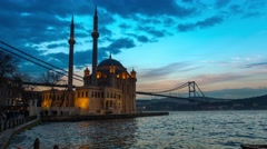 Ortakoy Mosque in Istanbul, Time Lapse 4K - stock footage