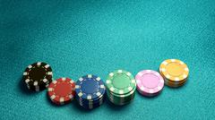 casino chips of bet blue table - stock illustration