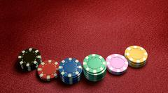 casino chips of bet red table - stock illustration
