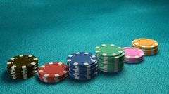 casino chips of bet side angle blue table - stock illustration